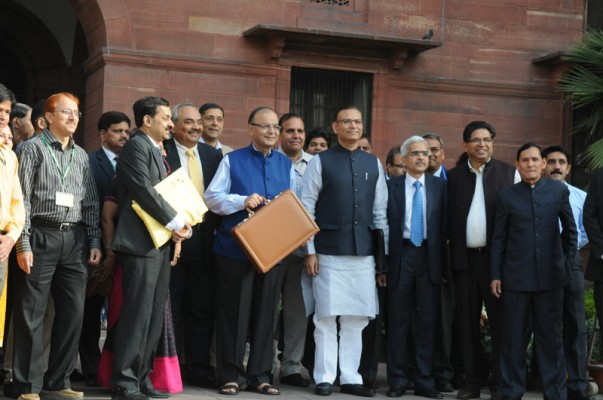 The Union Minister for Finance, Corporate Affairs and Information & Broadcasting, Shri Arun Jaitley departs from North Block to Parliament House along with the Minister of State for Finance, Shri Jayant Sinha to present the General Budget 2015-16, in New Delhi on February 28, 2015.