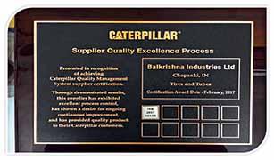 BKT wins SQEP Silver Award from Caterpillar