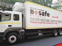 Daimler Trucks präsentiert Kühllast wagen von BharatBenz für die Impfstoffverteilung in Indien  Daimler Trucks unveils BharatBenz Reefer Truck for Vaccine Transportation in India
